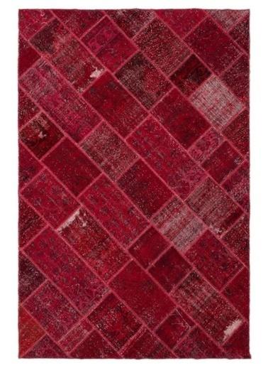 Giz Home Anadolu Patchwork El Örgüsü Halı 160X230 Bordo Bordo